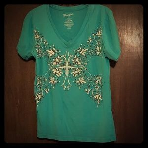 Teal T-shirt with cross